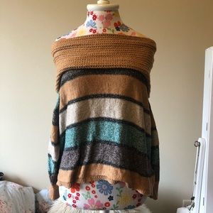 Sweaters - Off The Shoulder Striped Sweater